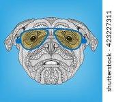 Hipster Dog. Bulldog Portrait...