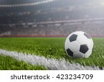 soccer ball at night in grass... | Shutterstock . vector #423234709
