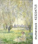 woman seated under the willows  ... | Shutterstock . vector #423234715