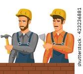 builders in flat style.... | Shutterstock .eps vector #423236881