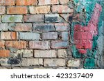 texture of an old crumbling... | Shutterstock . vector #423237409
