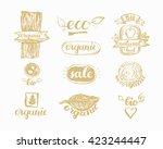 hand drawn farm fresh logo set. ... | Shutterstock .eps vector #423244447