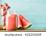 freshly blended red fruit... | Shutterstock . vector #423253309