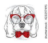 cute puppy with glasses and tie ... | Shutterstock .eps vector #423257491