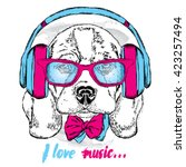 cute puppy in headphones  ... | Shutterstock .eps vector #423257494