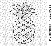 pineapple adult coloring page....   Shutterstock .eps vector #423259861