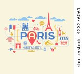 paris france icons and... | Shutterstock .eps vector #423276061