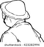 outline sketch of mature man in ...   Shutterstock .eps vector #423282994