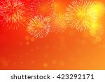 golden fireworks on red... | Shutterstock .eps vector #423292171