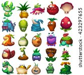 plant and animal creature set.... | Shutterstock . vector #423297655