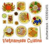 vietnamese cuisine with steamed ... | Shutterstock .eps vector #423301651
