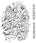 hipster hand drawn crazy doodle ... | Shutterstock .eps vector #423307219