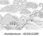 drive around clean lines doodle ... | Shutterstock .eps vector #423312289