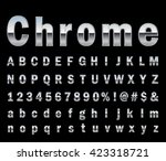 chrome  letter set  | Shutterstock .eps vector #423318721