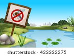 scene with pond and sign no...   Shutterstock .eps vector #423332275