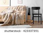beige sofa in the room interior | Shutterstock . vector #423337351