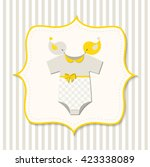yellow baby shower  card with... | Shutterstock .eps vector #423338089