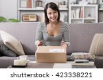 smiling young woman at home on... | Shutterstock . vector #423338221