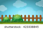scene with wooden fence in... | Shutterstock .eps vector #423338845