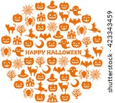 circle with halloween icons. | Shutterstock .eps vector #423343459