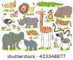 african animal kids drawing | Shutterstock .eps vector #423348877