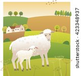 sheep with lamb | Shutterstock .eps vector #423348937