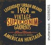 vintage denim  typography ... | Shutterstock .eps vector #423350251