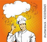 Chef With Speech Bubble Shows...
