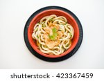 bowl of udon noodles with spicy ...   Shutterstock . vector #423367459