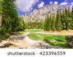 peaceful mountain view with...   Shutterstock . vector #423396559