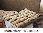 kiln baked pineapple cookies | Shutterstock . vector #423408715