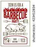 barbeque party invitation card...   Shutterstock .eps vector #423412834