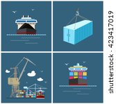 cargo icons  container and dry... | Shutterstock .eps vector #423417019
