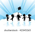 silhouettes children playing | Shutterstock .eps vector #42345265