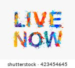 live now. splash paint... | Shutterstock .eps vector #423454645