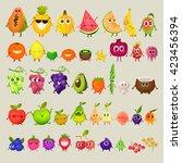 icons  fresh fruit. pineapple ... | Shutterstock .eps vector #423456394