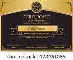 gold black certificate template ... | Shutterstock .eps vector #423461089
