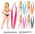 surfer girl in different colors.... | Shutterstock .eps vector #423464971