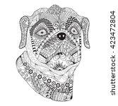 bulldog portrait. hand drawn... | Shutterstock .eps vector #423472804