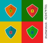 set of four vector shields with ...