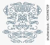 calligraphy flourishes   vector | Shutterstock .eps vector #423498739