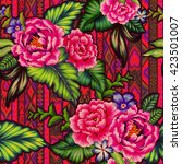 colorful mexican floral pattern ... | Shutterstock . vector #423501007