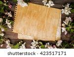 vintage craft paper mock up on... | Shutterstock . vector #423517171