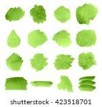 set green watercolor paper... | Shutterstock .eps vector #423518701