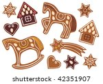 gingerbread of various shapes... | Shutterstock .eps vector #42351907