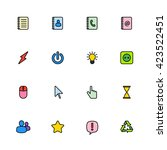 colorful line web icon set for...
