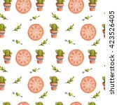 Watercolor Pattern With Cactus