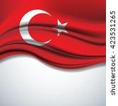 vector of turkey flag blowing... | Shutterstock .eps vector #423531265
