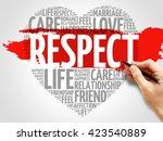 respect concept heart word cloud | Shutterstock . vector #423540889