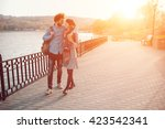 happy hipster couple on holiday ... | Shutterstock . vector #423542341